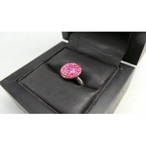 Anillo Swarovski con cristales rosas montados en acero